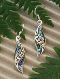 """Angels Wings"" Sterling NZ Paua Earring 2356bx"