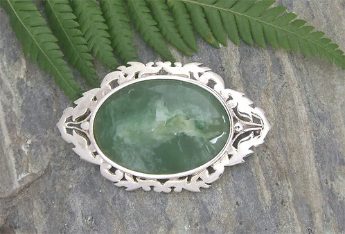 Special One Of Flower Jade New Zealand Greenstone/ Pounamu Silver Brooch G3105bx