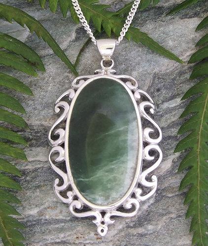 """The Mirror"" New Zealand Greenstone Silver Pendant G3403bx"