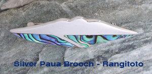 """Rangitoto Sailing""NZ Paua Shell Sterling Silver Brooch  3119"