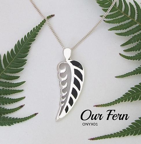 """Our Fern"" Love harmonious silver Onyx pendant"