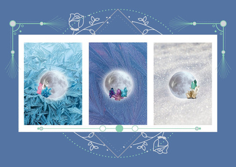 Cartes lune et cristaux