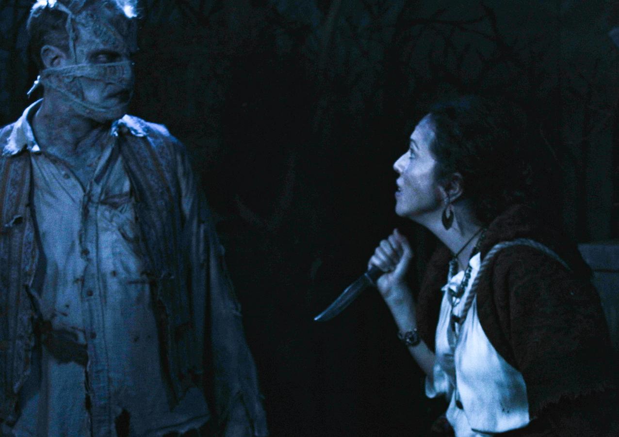 """Gisbert Heuer as The Monster and Arlette Del Toro as Nadya in """"The Gravedigger"""" Directed by Erynn Dalton, written by Joseph Zettelmaier"""