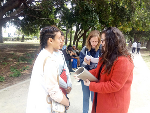 Qalam students communicate with local Moroccans