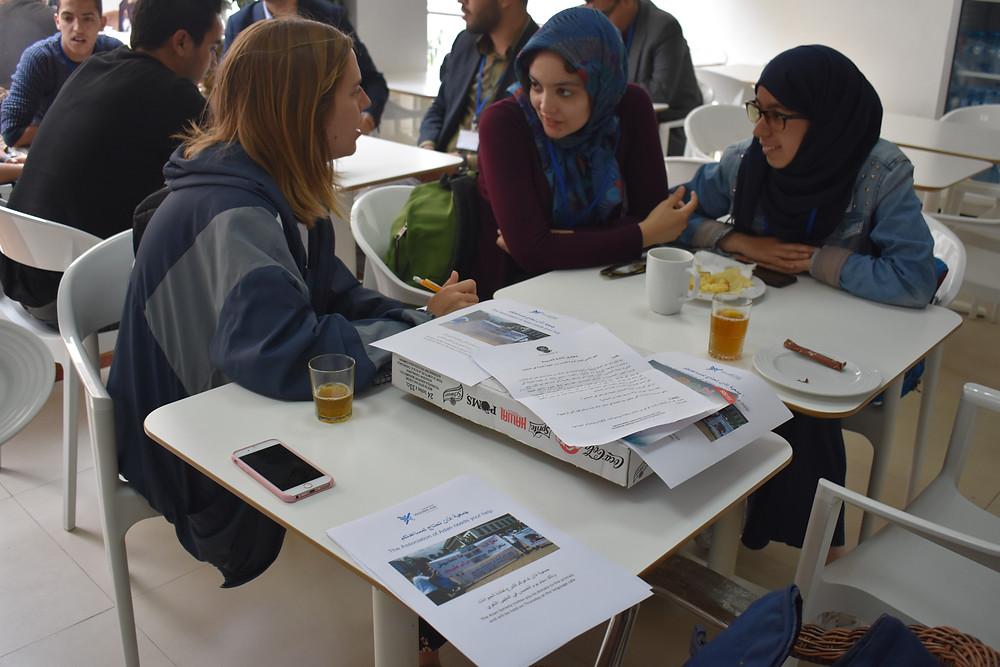 Arabic student practicing communication