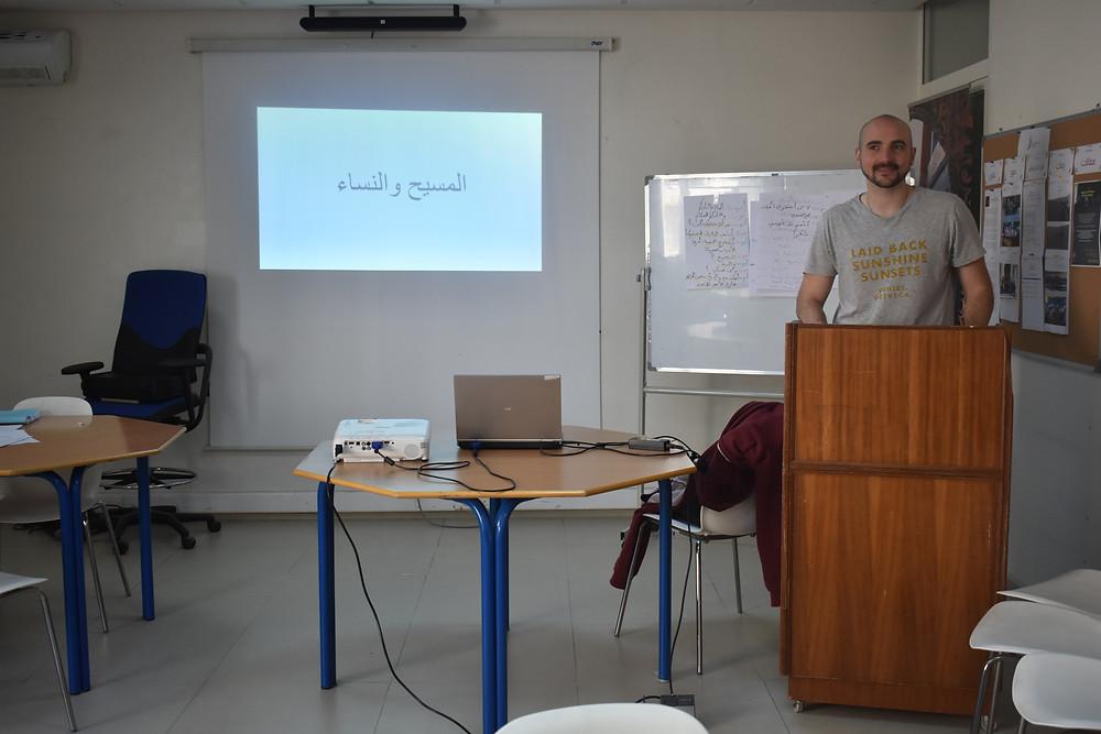 Arabic scholarship student giving a presentation