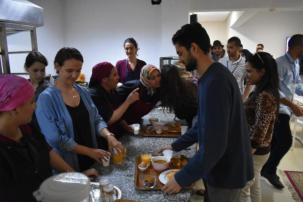 Arabic students serve Iftar at the Arabic Language Cafe