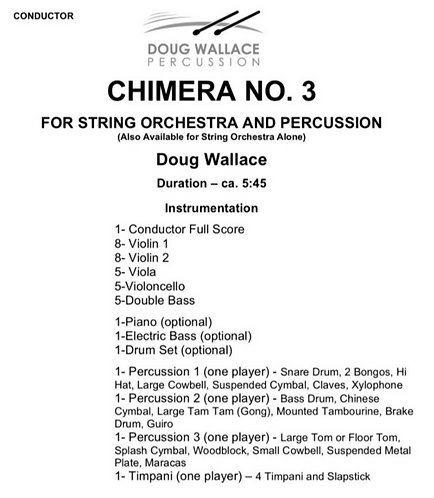 Chimera No. 3 for String Orchestra & Percussion by Doug Wallace (Digital)