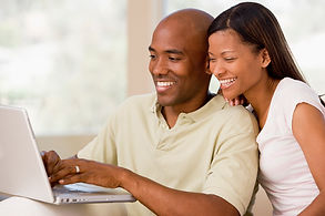 Black couple buying curriculum online