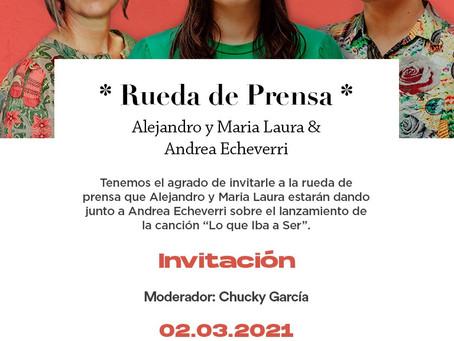 Invitación a la conferencia de prensa Alejandro y María Laura & Andrea Echeverri