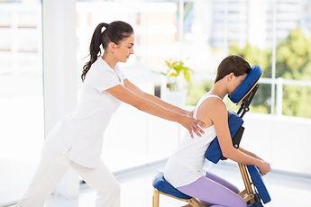 Lady Having A Chair Massage at Leelawadee Thai Massage Therapy Studio