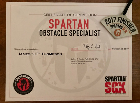 JT Completes Spartan Obstacle Specialist Certification