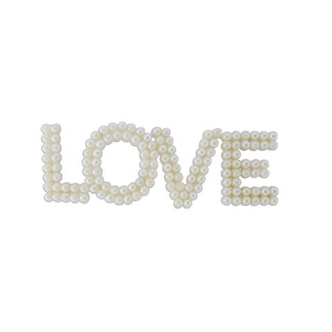 APLIQUE LOVE C/ PEROLA PEQUENO MARFIM REF 0108 - PAR