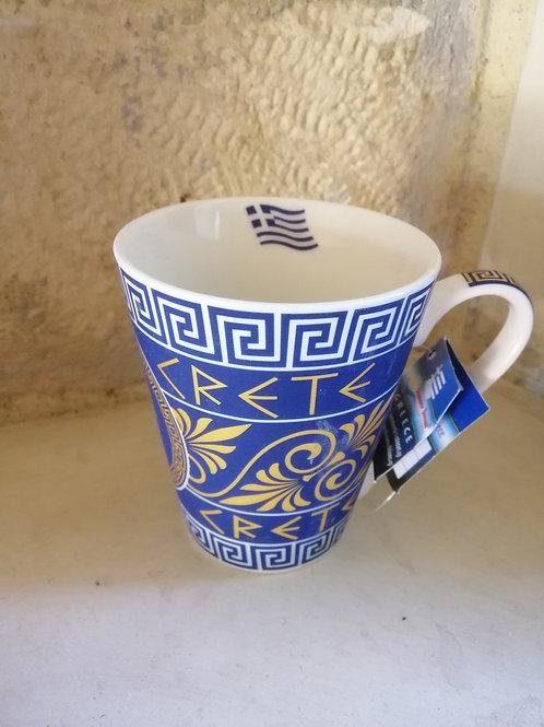 """Mug blanc et bleu CRETE """"Meandres grecs"""""""
