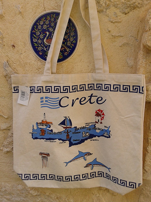 Sac en toile grand format 40 X 44 CRETE + MEANDRES