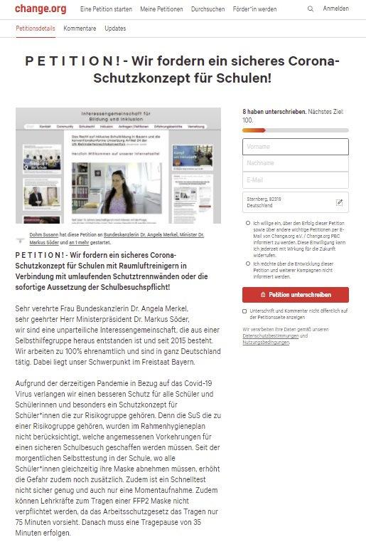 change.org Petition sicheres Schutzkonze