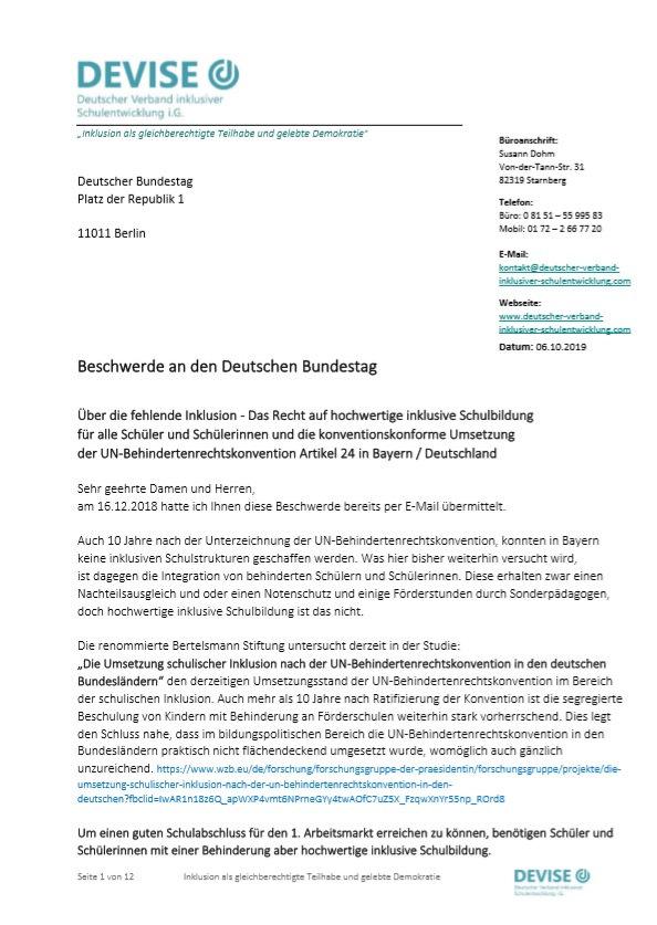 Beschwerde Deutscher Bundestag - DEVISE
