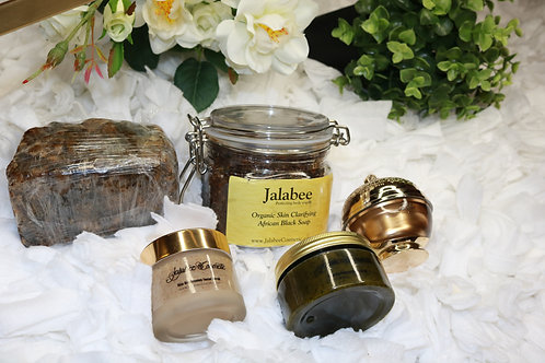 Jalabee Organic Clarfying African Black Soap & Scrub Set