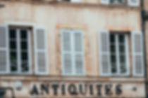 Vintage facade of an antique dealer, Bur