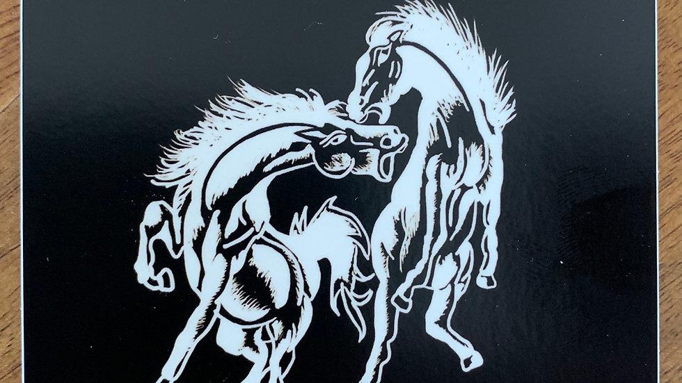 "Sticker ""Fighting Horses"""