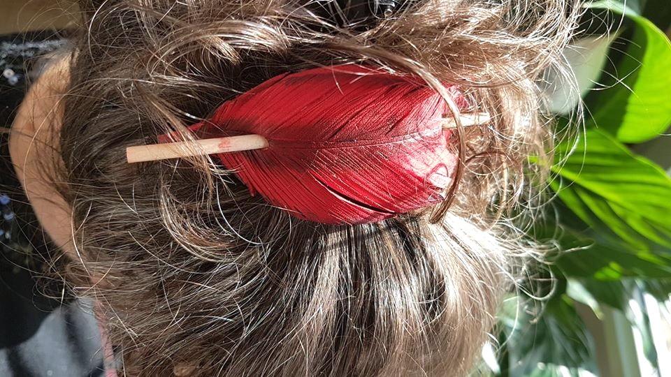Broche à cheveux plume