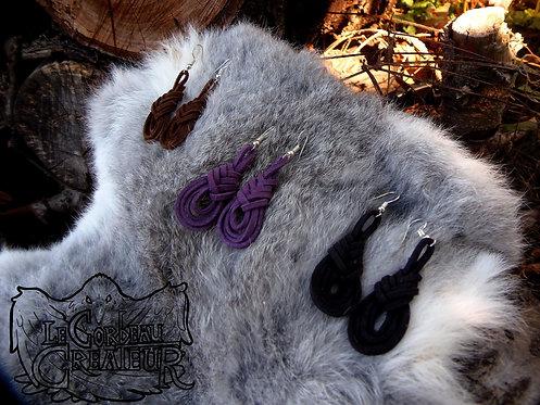 Boucles d'oreilles en lacet de cuir