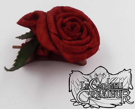 Broche à cheveux rose rouge