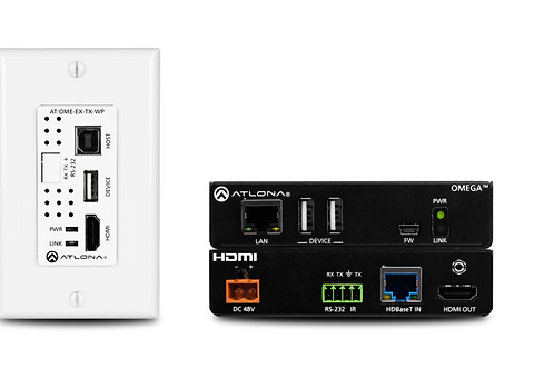 Wallplate HDBaseT TX/RX for HDMI with USB