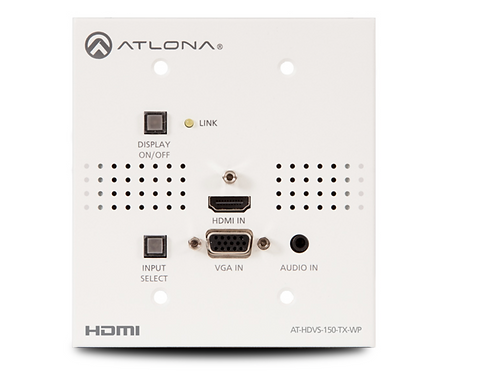 Two-Input Wallplate Switcher for HDMI and VGA with HDBaseT Output