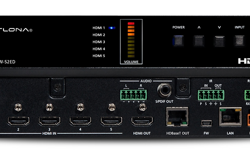 4K/UHD Five-Input HDMI Switcher with Mirrored HDMI / HDBaseT Outputs