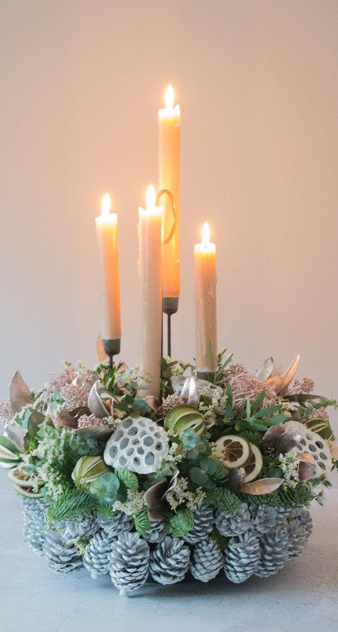 'Graceful heirloom' Christmas floral table arrangements