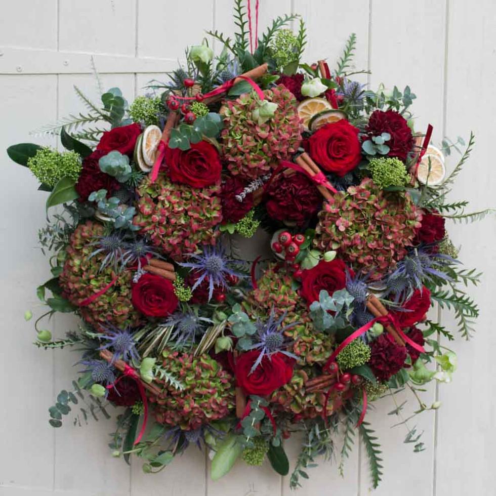 Red velvet Christmas door wreath