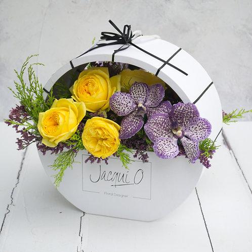 Colourful fresh flower presentation box
