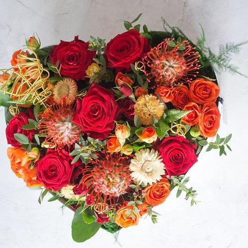 fresh seasonal flower heart hat box
