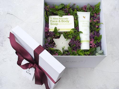 Aloe Avocado Face & Body Soap & Scrub gift set box with fresh flowers &  a candle