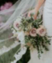 Peony, rose and olive bridal bouquet
