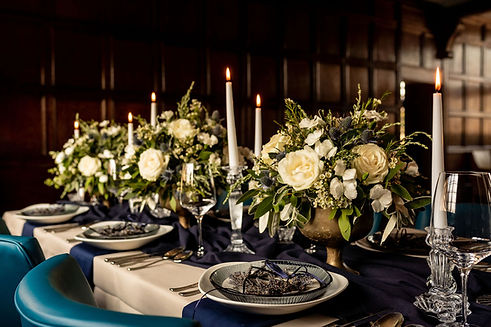 Lavender & Olive Christmas table flowers