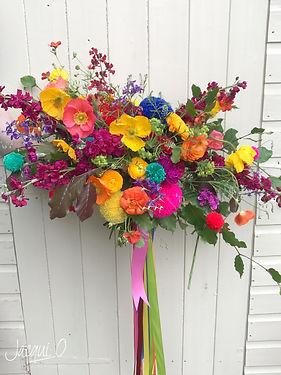 Poppy, ranunculus and pom-pom bridal bouquet-Cheshire