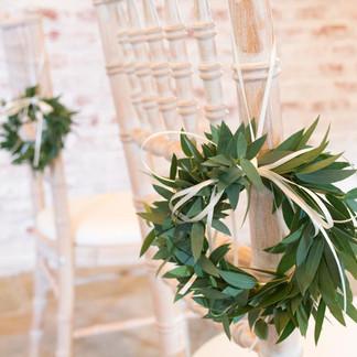 eucalyptus mini wreath Chair decorations  Dorfold Hall