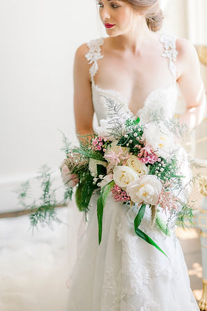 Peony, roses and astilbe bridal bouquet.