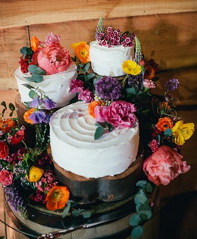 wedding cake and flowers