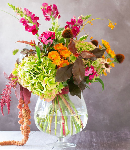 1. Hydrangea, rudbeckia and chrysanthmum