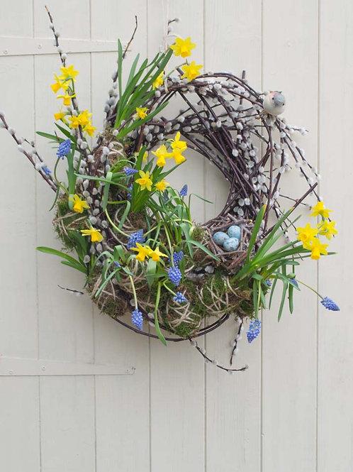 Blue and yellow spring door wreath