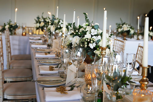 Jacqui O wedding flowers, Banquet tables