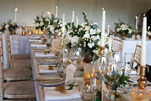 Jacqui O wedding flowers, Banquet tables
