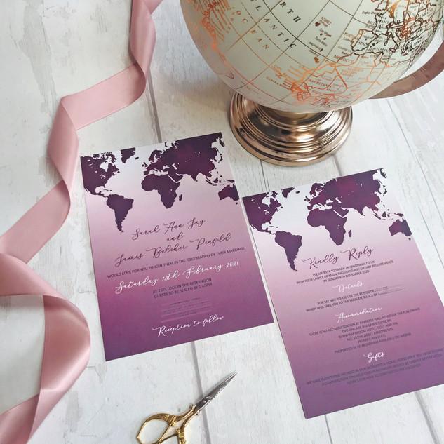 World Map Invite Plum