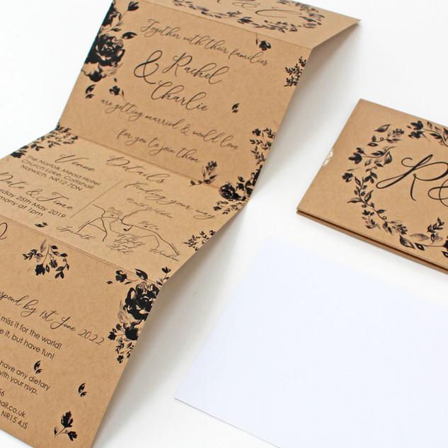 Concertina Kraft Mono Floral Invitation