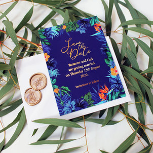 Tropical Royal Blue Save the Date