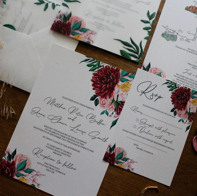 Burgandy Anna Invites
