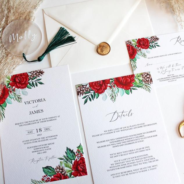 Winter Red Rose Invitations